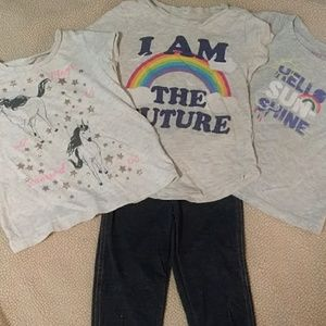 3 Tops & Leggings Set Girls Size 2T